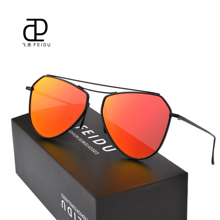 FEIDU Fashion Hot Selling Women Sunglasses Celebrity Same Paragraph Men Sunglasses Coating Polygon Coating Sun Glasses With Box