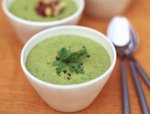 Soupe de légumes verts - recettes de soupes minceur - haricot .mache fond d.artichaud