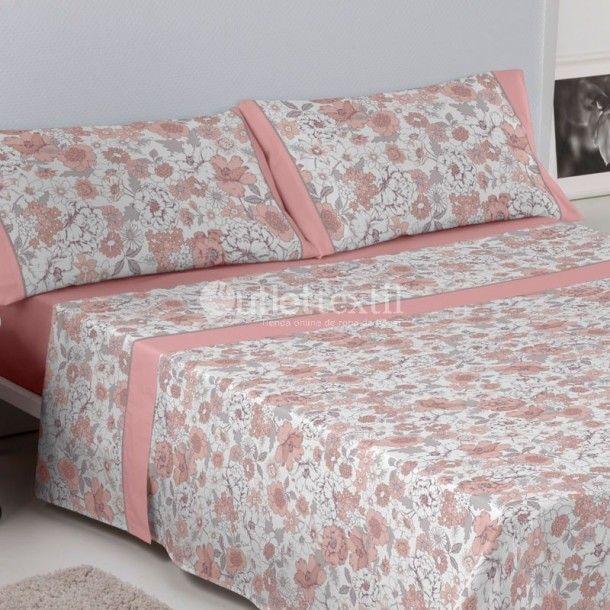 Juego de Sábanas ERICA Es-tela. Este juego de sábanas de la firma Estela presenta un sencillo y clásico diseño floral, disponible en azul, gris o rosa. Perfecto para renovar la ropa de cama de cualquier habitación de la casa.
