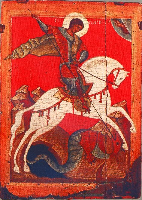 ST GEORGE AND THE DRAGON  late 14th-early 15th century, the Tretyakov Gallery, Moscow