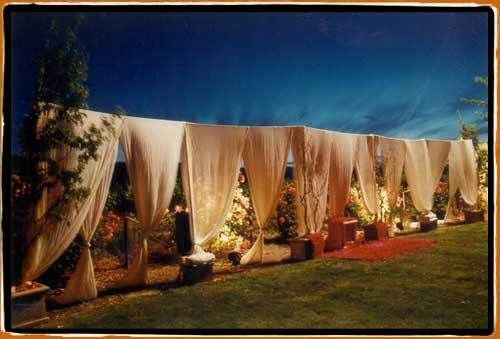 Pipe and drape with custom fabric drapes.