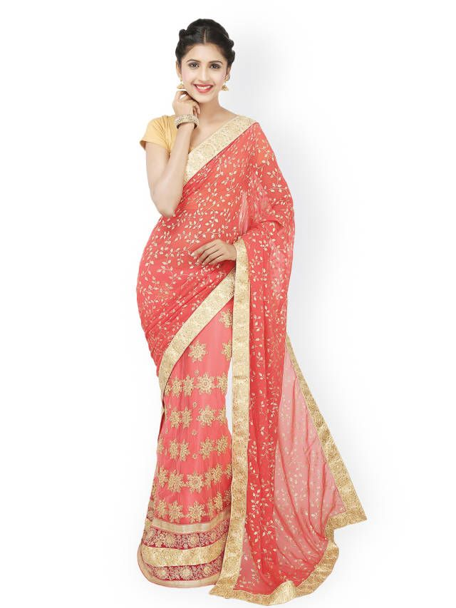 Colors Red Embroidered Net & Foil Georgette Embellished Saree