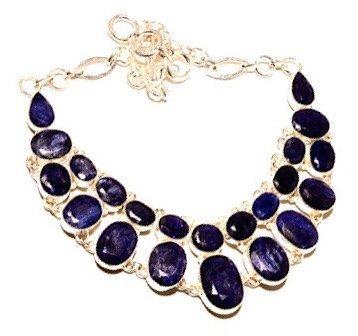 925 Sterling Silver Bib Necklace with Madagascar Dark Blue Sapphire Genuine Gemstone Set into a Majestic Design Necklace!!! by Ameogem on Etsy