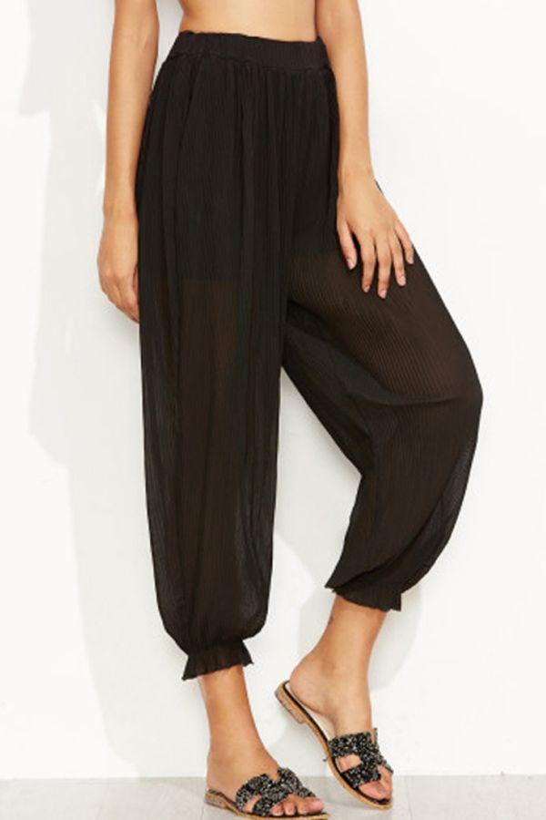 Black Ruffle Elastic Waist Casual Pants #Black #Pants #maykool