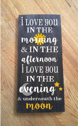 I Love You in the Morning Wood Sign by KaileighsKreations on Etsy