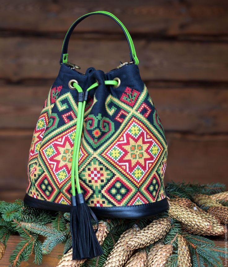 """Купить Сумка-мешок   """"Звезда"""" - комбинированный, орнамент, сумка ручной работы, сумка мешок"""
