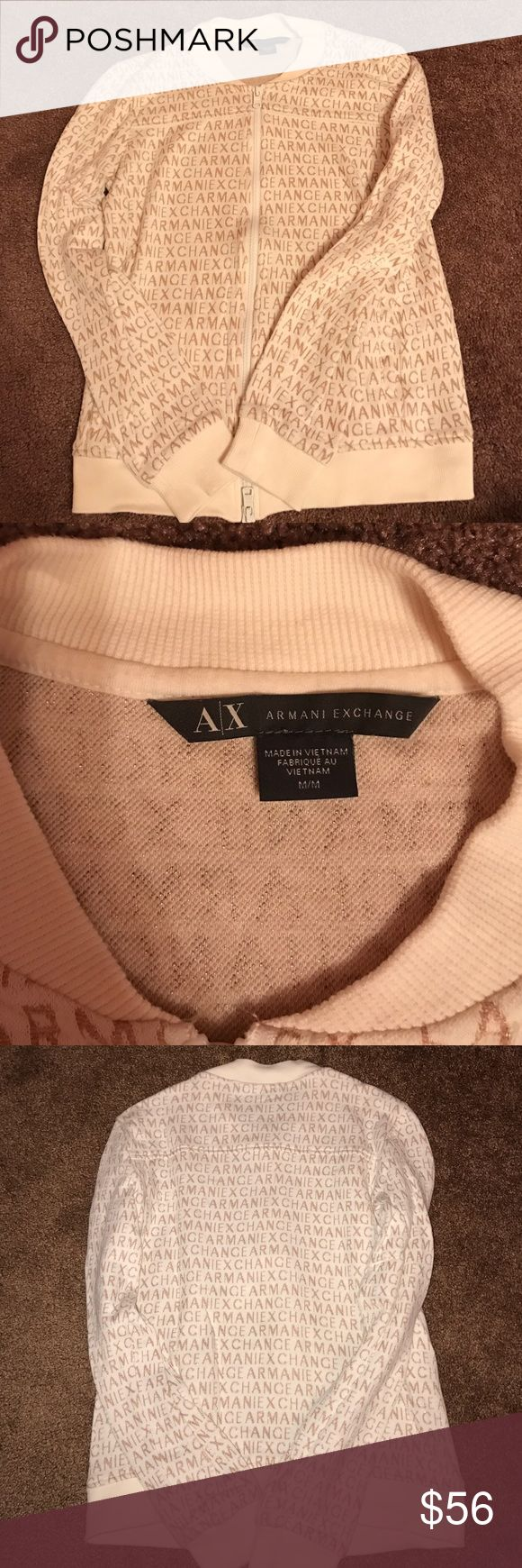 Armani exchange sweatshirt Great condition Armani exchange sweatshirt. Does not have a hood. Worn once! The sweatshirt is a creme color with Armani exchange written all over it in a brownish/gold color! It states it's a size medium but fits more like an XS/Small. No trades. Any questions please ask ! A/X Armani Exchange Tops Sweatshirts & Hoodies