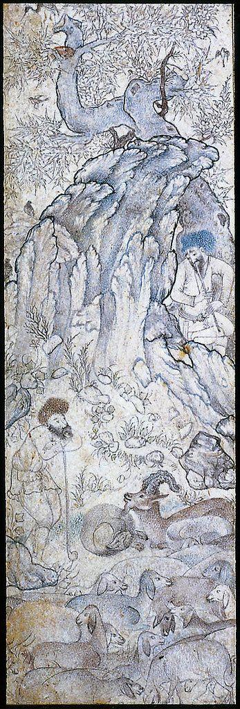 آرامش معنوی در نگاره گله و چوپان، نگارگر ناشناس، اواخر سده ۱۶ ترسایی، دوره صفوی، مرکب و طلا بر روی کاغذ، ۳.۶ در ۱۱.۳ سانتیمتر، محل نگهداری موزه هنرهای زیبای بوستون. Pastoral Scene with Goats Persian Safavid Period late 16th century Object Place: Iran DIMENSIONS 3.6 x 11.3 cm MEDIUM OR TECHNIQUE Drawing on paper NOT ON VIEW COLLECTIONS Asia CLASSIFICATIONS Books and manuscripts