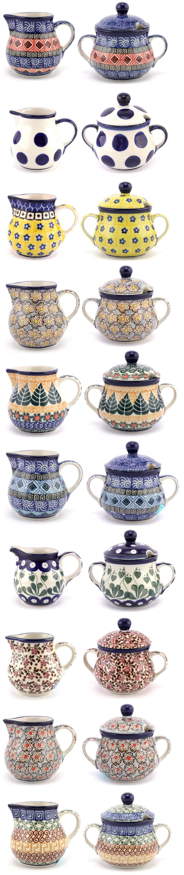 These pairs of creamers and sugar bowls are waiting for you now at our online store. And we have so many other patterns if you prefer to mix! :) Slavica Polish Pottery http://slavicapottery.com/polish-pottery-creamers-sugar-bowls