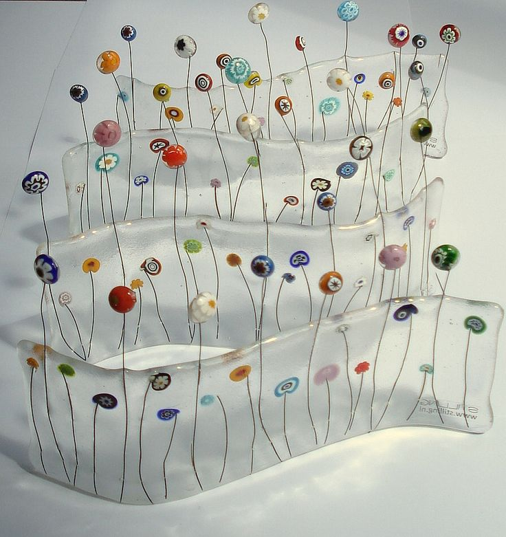 Millifiori fused glass garden