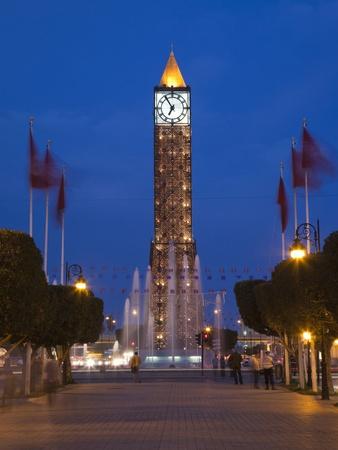 Place Du 7 Novembre 1987 Clocktower, Avenue Habib Bourguiba, Tunis, Tunisia