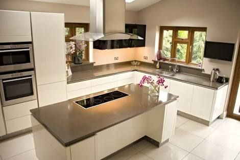 white handleless kitchen cupboards - Google Search