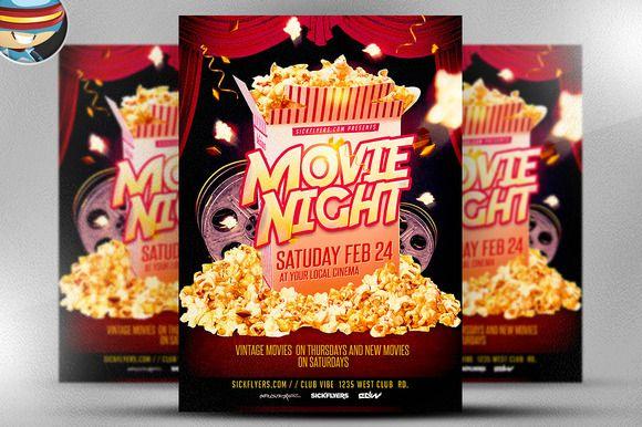 Movie Night Flyer Template by FlyerHeroes on Creative Market - movie night flyer template