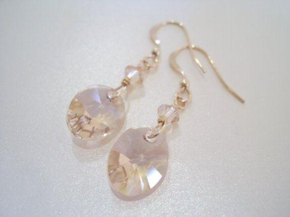 Swarovski golden dangly earrings in gold filled brass