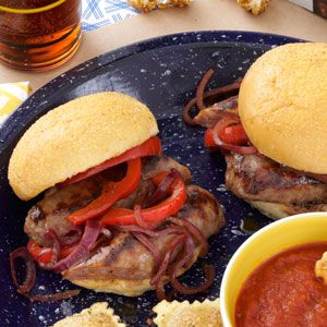 All-American Sausage and Pepper Sliders Recipe- Recipes In the ballpark keep one hand free for a fly ball. Learn from this and make sausage and pepper hero sandwiches into sliders. —Veronica Callaghan, Glastonbury, Connecticut