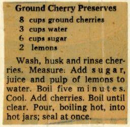 Ground Cherry Preserves. :: Historic Recipe