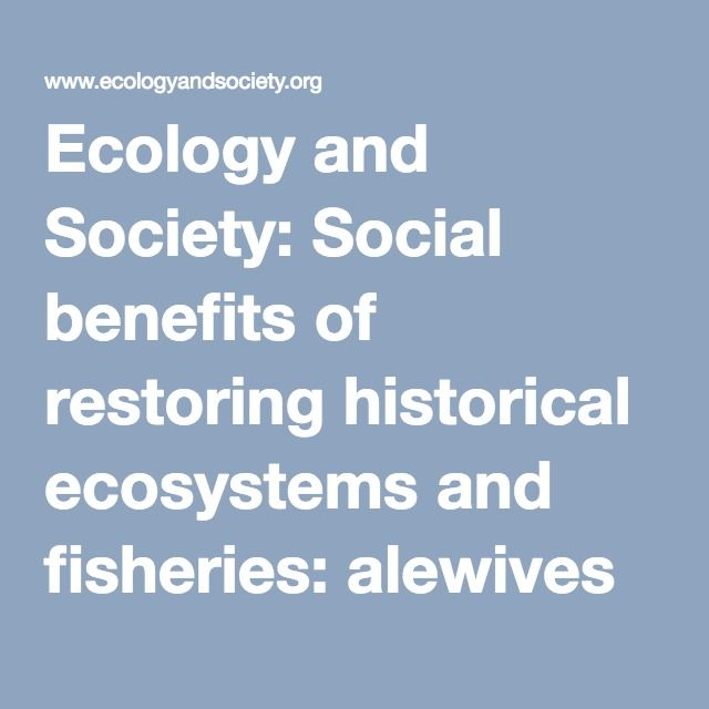 Ecology and Society: Social benefits of restoring historical ecosystems and fisheries: alewives in Maine