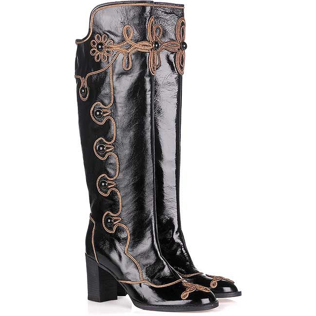 Anna Sui Patent Leather Knee-High Boots