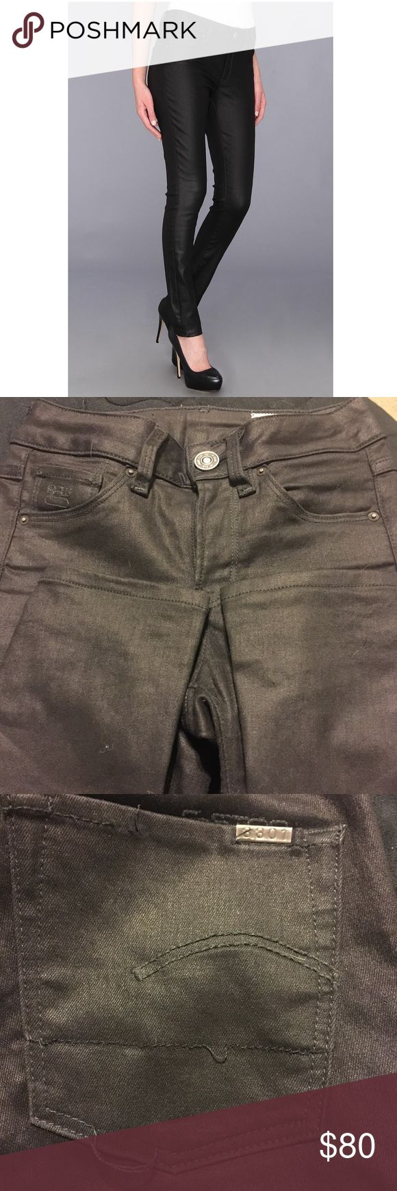 G Star RAW 3301 Jeggings G Star RAW 3301 wet look jegging. In great condition minus the back right pocket. The stitching is coming undone, shown in 3rd photo. Size runs small. Price negotiable. G-Star Jeans