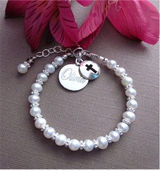 First Holy Communion Baby Baptism Pearl Bracelet Personalized Engraved Real Pearl Cross Keepsake Bracelet Gift