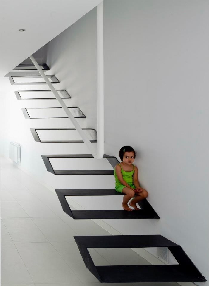 If I had these stairs in my home as a kid, I would not be here today.  DANGEROUS