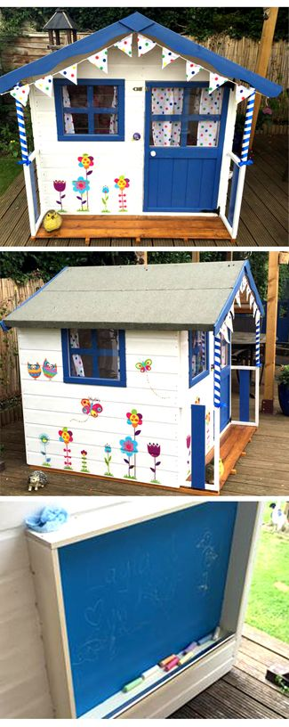 Electric blue and white decorated wooden playhouse. Spotty bunting, vinyll flowers and spotty curtains. Thank you Liz for sending us this photo of your Waltons Honeypot Poppy Playhouse #MyWaltons