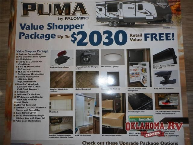 """2016 New Palomino Puma Unleashed 351-THSS Toy Hauler in Oklahoma OK.Recreational Vehicle, rv, 2016 Palomino Puma Unleashed 351-THSS, Pack up your toys and head for a weekend of fun in this Palomino Puma Unleashed toy hauler fifth wheel model 351-THSS. You will enjoy 11'8"""" of toy parking space, and a spacious living area with large slide-out.The rear 7'3"""" spring assist ramp door will make loading and unloading a breeze and the tie down rings will make it easy to keep things secure as you…"""
