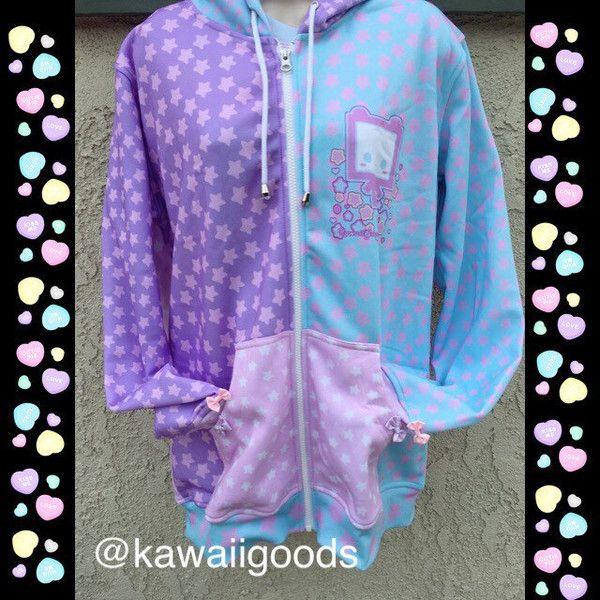 Starry Fairy Kei Pastel Sweater Kiko, Star Fairy Kei Sweater, Pastel... ❤ liked on Polyvore featuring tops, hoodies, purple hoodie, purple top, star hoodie, purple hoodies and purple hooded sweatshirt