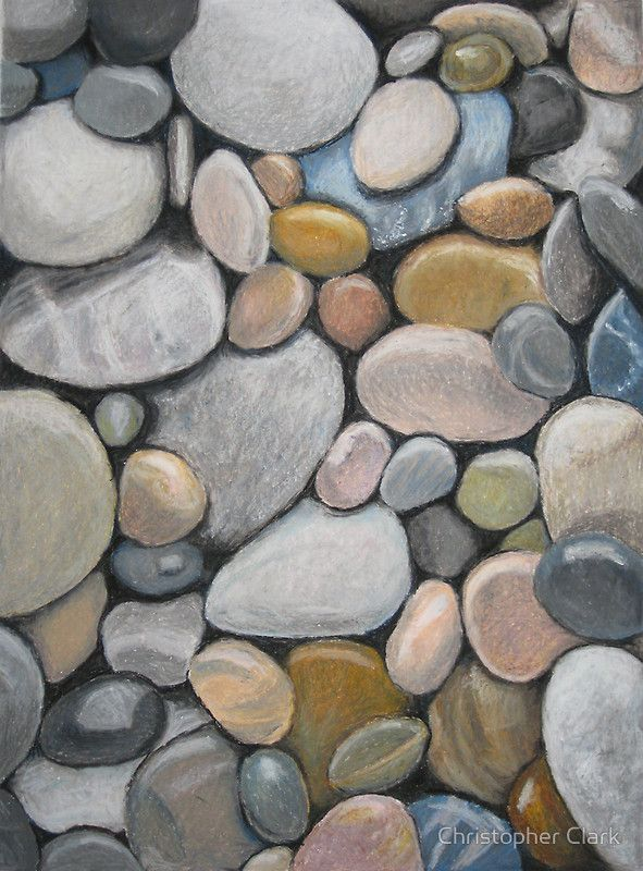 Oil Pastel Pebbles By Christopher Clark.  Cool idea for blending oil pastels for subtle color