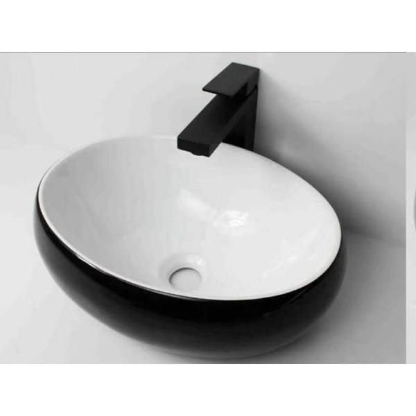 Above Counter Oval Black White Ceramic Basin 600 X 400 X 150mm White Vanity Bathroom Unique Bathroom Vanity Small Bathroom Vanities