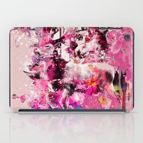 Deers iPad Case #deer #animals #paintings #digital #art #wildlife #floral #pink #splash #rizapeker #ipad #case