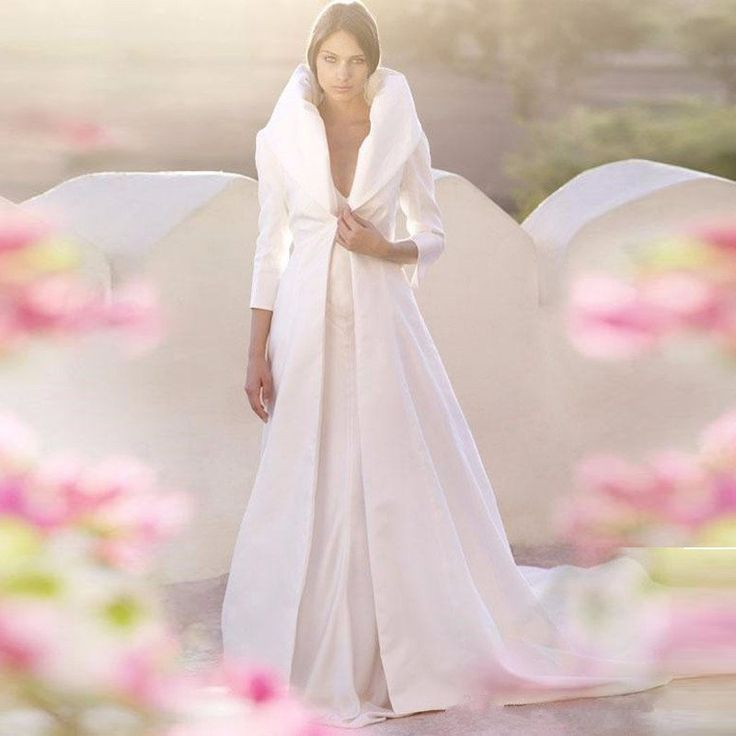 New Arrival Wedding Cloak With High Neck 3/4 Sleeves Winter Bridal Capes Long Train Bride Jacket / Wraps / Poncho Custom Made