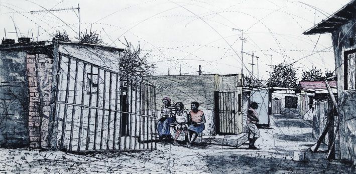 An original work by Phillemon Hlungwani entitled: Ku Hava Xoxi Endla Hande Ka Ku hlevana (Alex) II (Those who gossip have nothing better to do than gossip) etching and watercolour 82 x 141cm For more please visit www.finearts.co.za