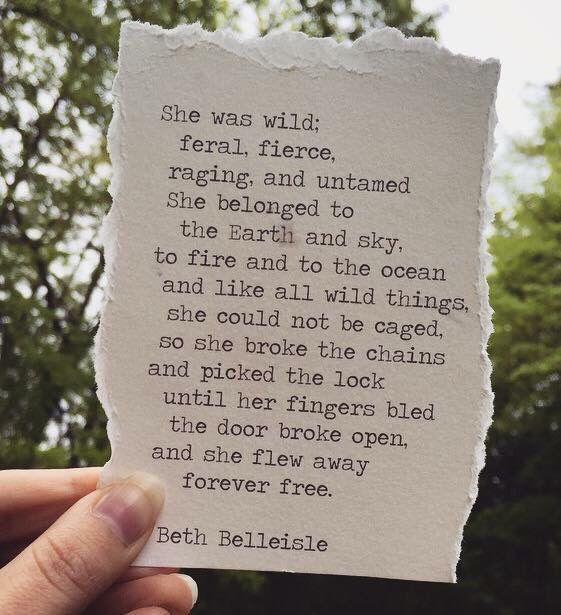 She was wild ... and she flew away forever free. -Beth Belleisele