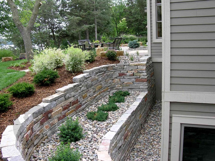 99 best retaining wall images on pinterest backyard Walkout basement landscaping pictures