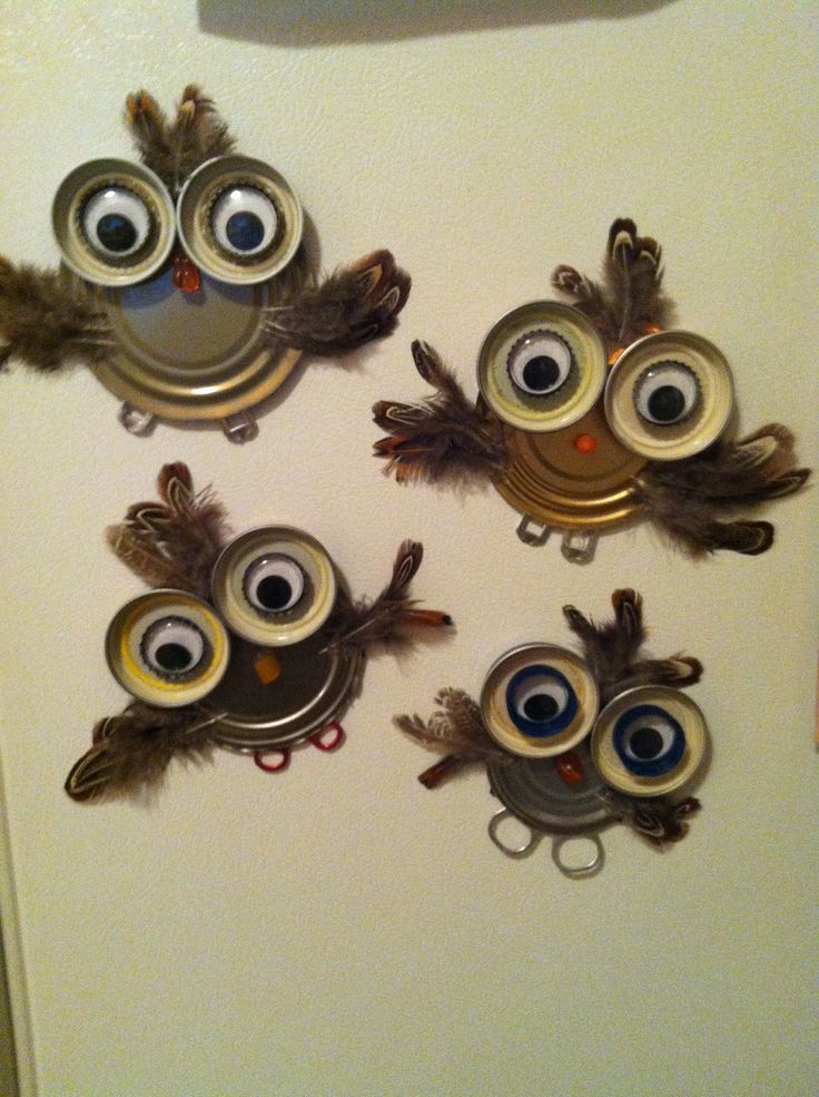 DIY owl magnets-- Can and jar lids