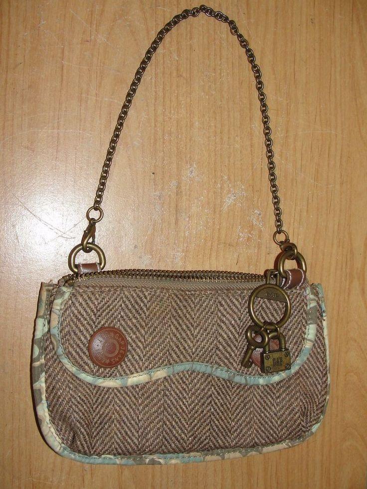 GAP Purse Brown Wool Tweed Herringbone Chain Lock Phone Bag Zip Top Handbag #GAP #Baguette