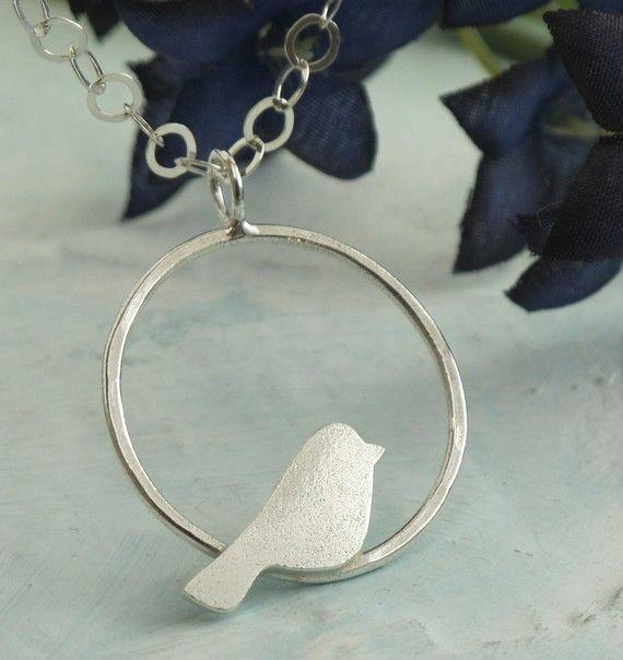 Bird Perched Pendant - sterling silver necklace by Kathryn Riechert