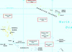 United States Minor Outlying-- Islands, a statistical designation defined by the International Organization for Standardization's ISO 3166-1 code, consist of eight United States insular areas in the Pacific Ocean (Baker Island, Howland Island, Jarvis Island, Johnston Atoll, Kingman Reef, Midway Atoll, Palmyra Atoll, & Wake Island) & one in the Caribbean Sea (Navassa Island).