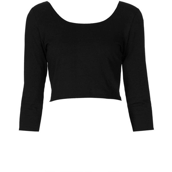 TOPSHOP 3/4 Sleeve Crop Top ($20) ❤ liked on Polyvore featuring tops