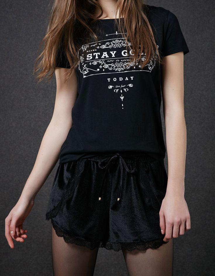 BSK velvet shorts with lace - Girl - Bershka Switzerland