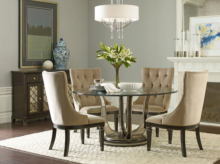 American Drew Belladonna 60 Round Dining Table Set In Deep Umber With Silver Tipping