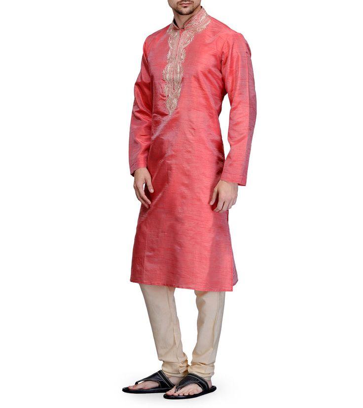 #Pink Embroidered Dupion #Silk #Kurta #Pyjama at #Indianroots