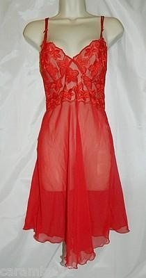 Great Valentine's Day Gift!  Millesia France Embroidered Red Sheer Night Gown Sz XSmall New   eBay