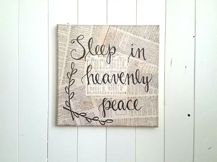 Sleep In Heavenly Peace Canvas Art // Book Page Art // Handlettered Nursery Art // Holiday Decor by JoyAndRoses on Etsy