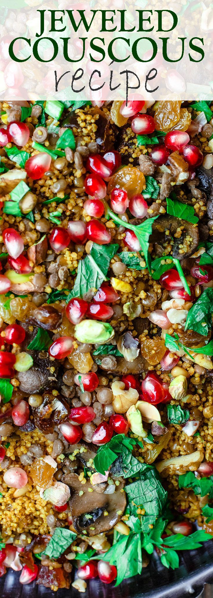Jeweled Couscous Recipe with Pomegranate and Lentils | The Mediterranean Dish. An easy couscous recipe that makes the perfect side dish or salad! With lentils, nuts, pomegranate seeds, and flavor-packed with Mediterranean spices. Makes any dinner special!