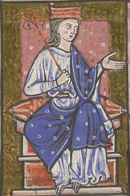 Early medieval illustration of Aethelflaed - Lady of Mercia from England's Anglo-Saxon period at the end of the early middle ages. While nobly attired, her clothing is not lavish.
