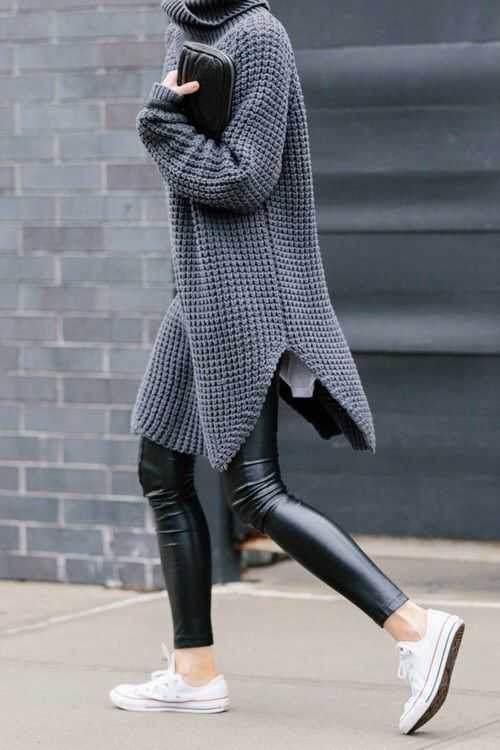 Leggings with Sneakers An unexpected chic look outside the gym is pairing your leggings with sneakers. It looks great with a long t-shirt or sweater.: