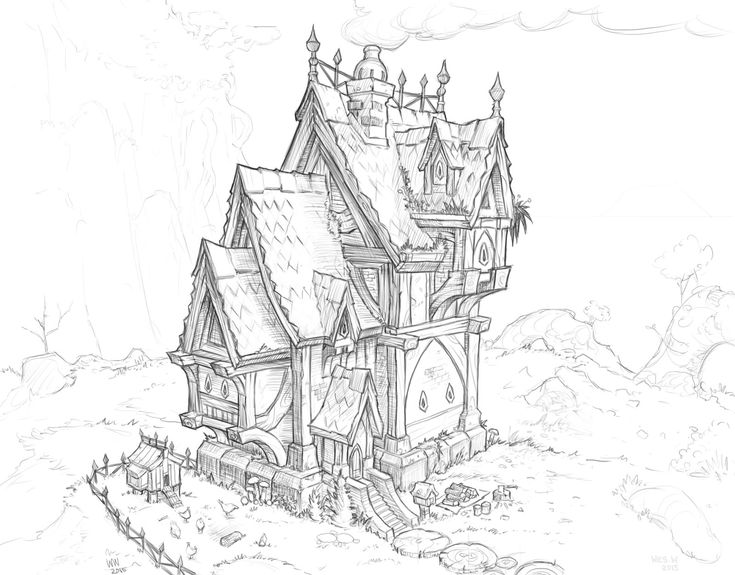 Fantasy architecture - Mansion/house, Wes Wheeler on ArtStation at https://www.artstation.com/artwork/fantasy-architecture-mansion-house