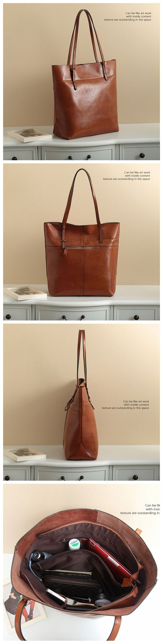 Handmade Genuine Leather Women's Fashion Tote Handbag Shoulder Bag in Brown 14149